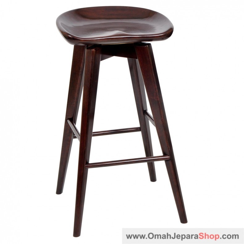 Kursi Bar Stool Kayu Jati Bundar