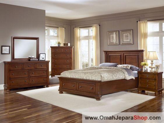 Set Tempat Tidur Kayu Jati Klasik