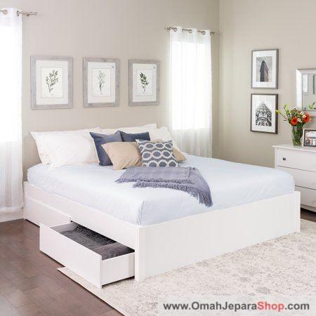 Tempat Tidur Laci Kayu Warna Putih